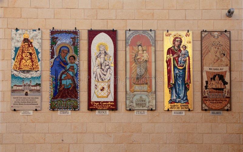 Mosaici di Madonna e del bambino sulla parete della basilica di fotografia stock