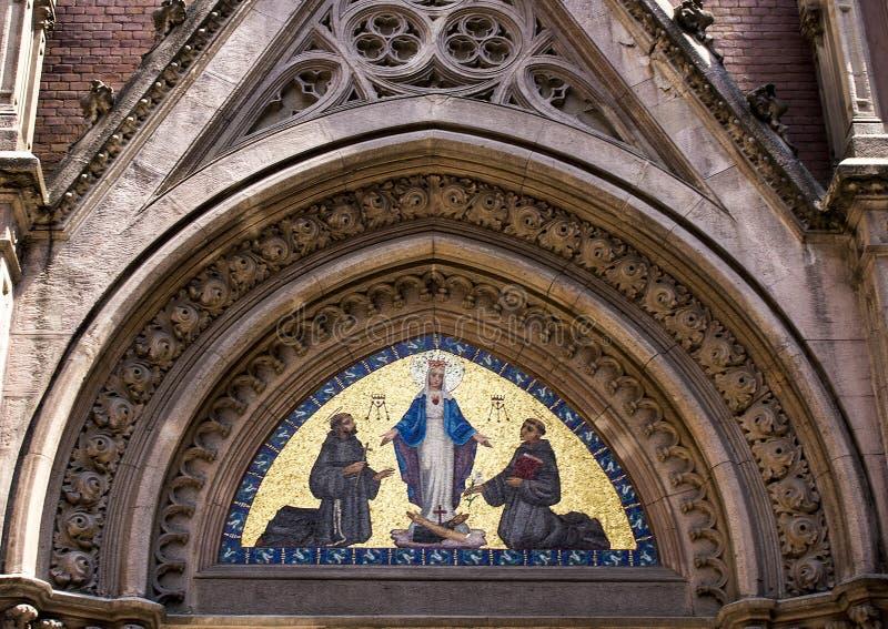 Mosaico acima da entrada principal, St Anthony da igreja de Pádua, Istambul fotos de stock royalty free