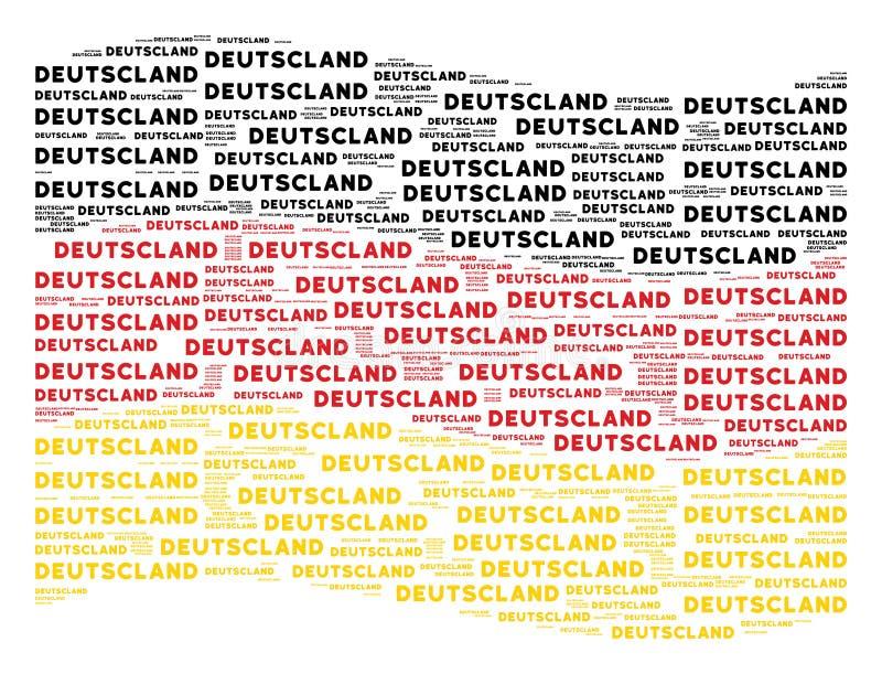 Mosaico alemão de ondulação da bandeira do texto de Alemanha em ícones do idioma alemão ilustração stock