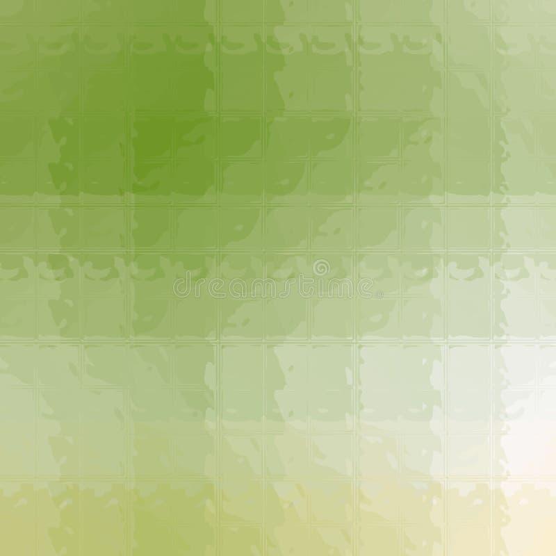 Mosaico amarillo, verde y blanco a través de los ladrillos de cristal en el ejemplo cuadrado del fondo de la forma stock de ilustración
