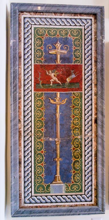 Mosaico antico complesso modellato nel museo di Napoli fotografie stock libere da diritti