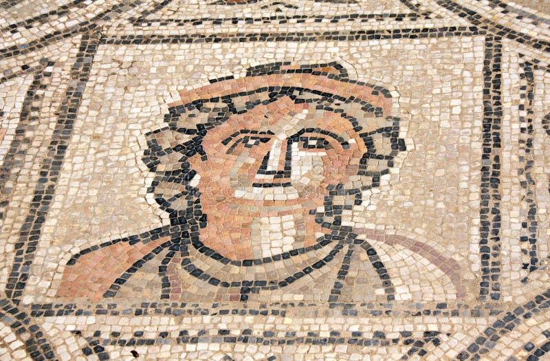 Mosaico antico con il fronte della donna, Volubilis, Marocco immagini stock libere da diritti