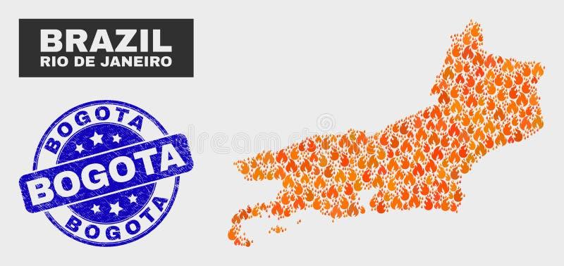 Mosaico ateado fogo Rio De janeiro State Map e selo de Bogotá do Grunge ilustração do vetor