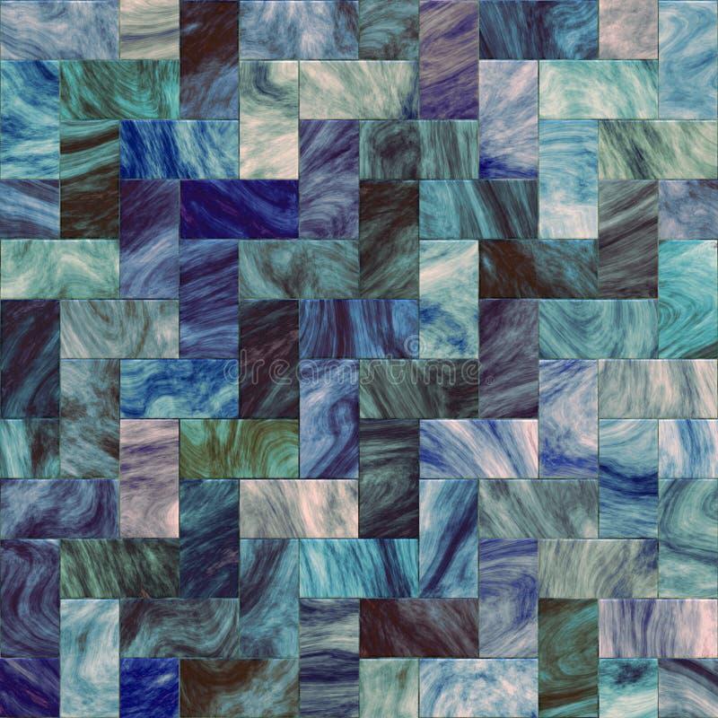 Mosaico azul artístico del azulejo stock de ilustración
