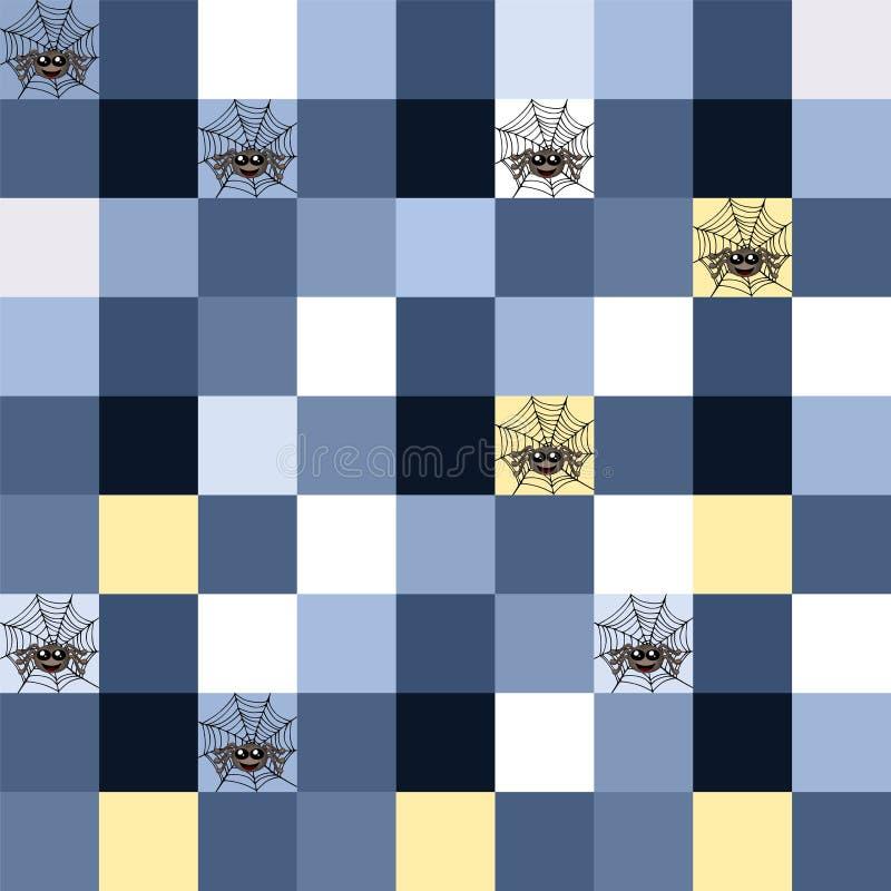 Mosaico azul inconsútil con adorno de la araña ilustración del vector