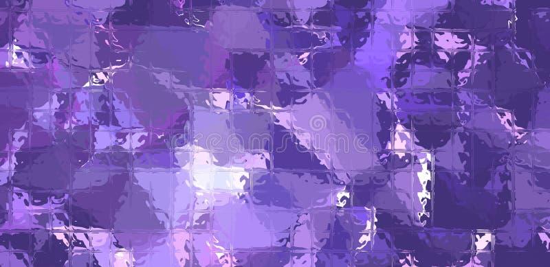 Mosaico azul marino y púrpura a través del ejemplo del fondo de los ladrillos de cristal libre illustration