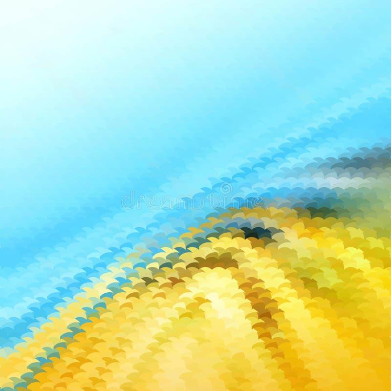 Mosaico azul y amarillo del extracto de la pendiente, estilo polivinílico bajo geométrico, diseño del ejemplo del vector stock de ilustración