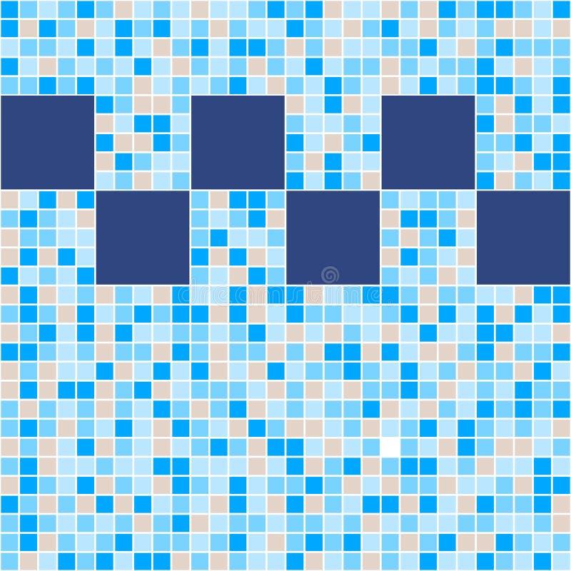 Mosaico azul y beige de la baldosa cerámica en piscina libre illustration