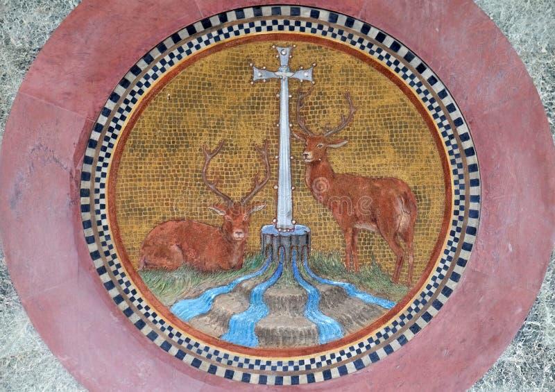 Mosaico, basílica del santo Paul Outside las paredes, Roma foto de archivo