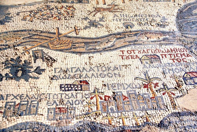 Mosaico bizantino con la mappa di Terra Santa, Madaba, Giordania immagini stock libere da diritti