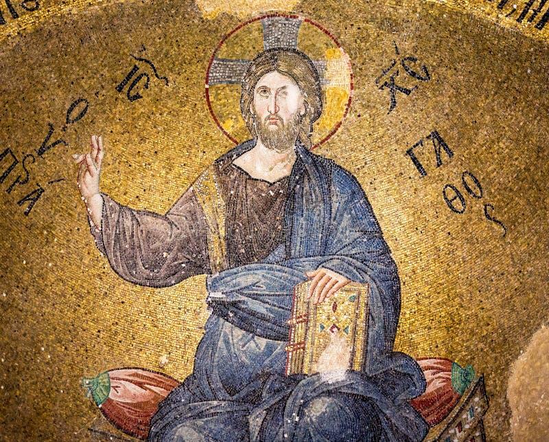 Mosaico bizantino do pantocrator de Cristo imagem de stock