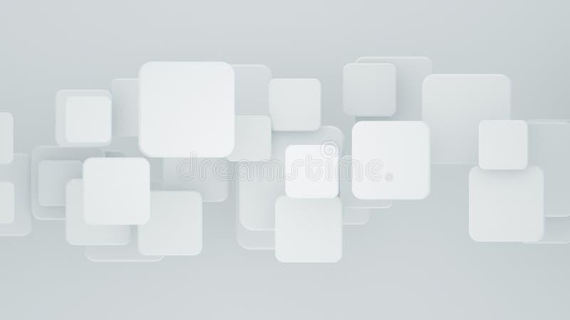 Mosaico blanco de varias capas con la representación de los cuadrados 3D stock de ilustración