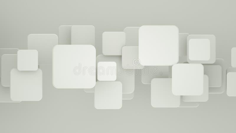 Mosaico blanco geométrico con la representación de los cuadrados 3D ilustración del vector