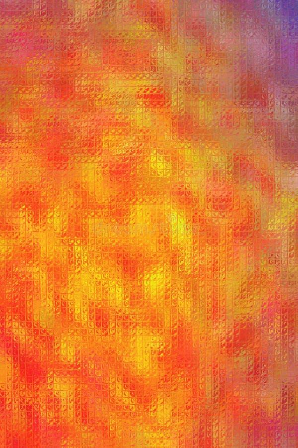 Mosaico brillante azul y anaranjado a través del ejemplo vertical del fondo de los ladrillos de cristal libre illustration