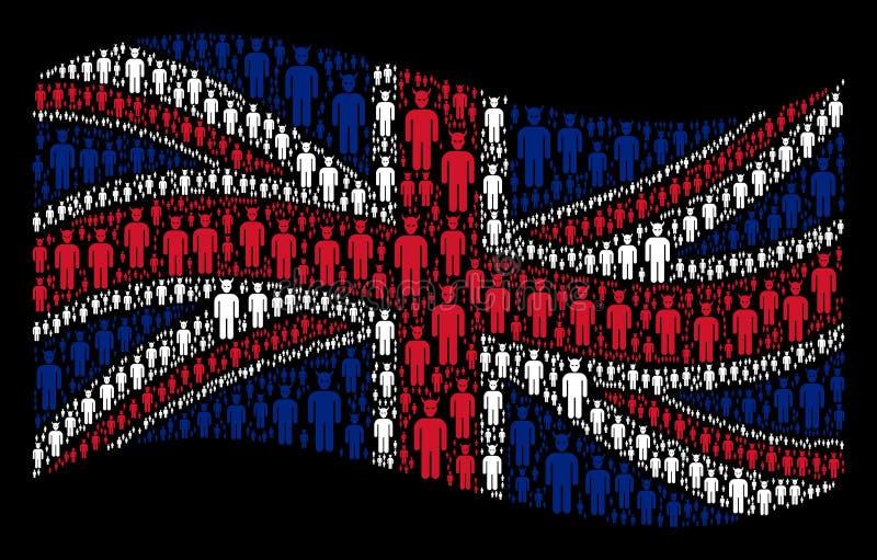 Mosaico británico de la bandera que agita de Daemon Icons stock de ilustración