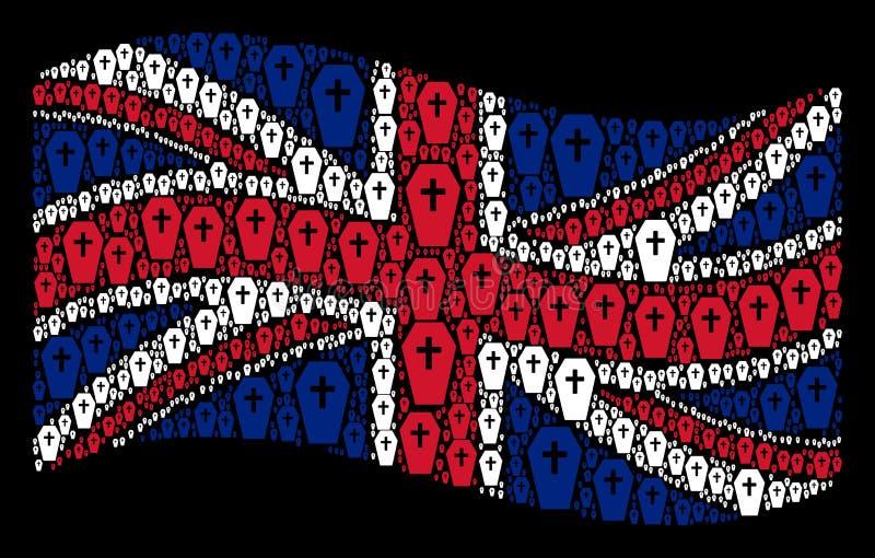 Mosaico BRITANNICO d'ondeggiamento della bandiera degli elementi della bara royalty illustrazione gratis