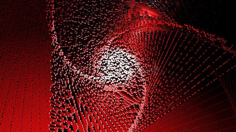 mosaico cúbico de pixeles con efecto de la interferencia, el logotipo tecnológico abstracto del fondo en un fondo rojo 3d rinden ilustración del vector