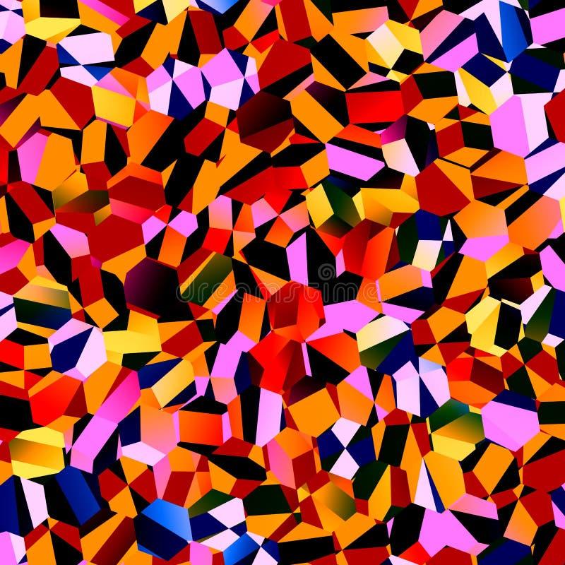 Mosaico caotico variopinto dei poligoni Progettazione geometrica astratta del fondo Grafico di lerciume della geometria Modello p illustrazione vettoriale