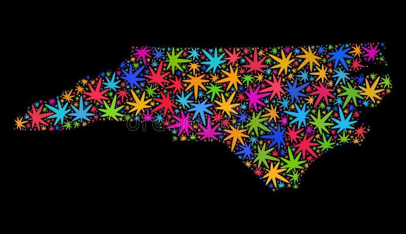 Mosaico Carolina State Map del norte de las hojas coloridas de la marijuana libre illustration