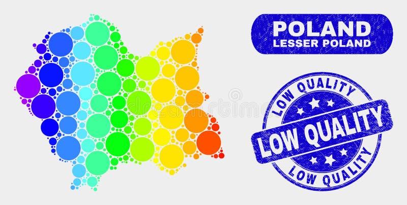Mosaico colorato Lesser Poland Voivodeship Map e guarnizione scarsa qualità di lerciume royalty illustrazione gratis