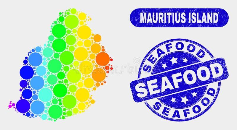 Mosaico colorido Mauritius Island Map e selo do marisco do Grunge ilustração do vetor