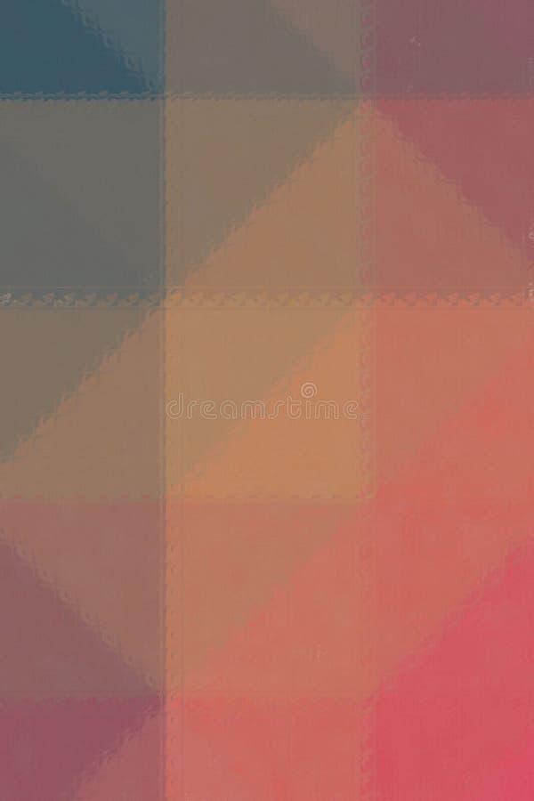 Mosaico colorido rojo, amarillo y marrón a través del ejemplo vertical del fondo de los ladrillos de cristal stock de ilustración