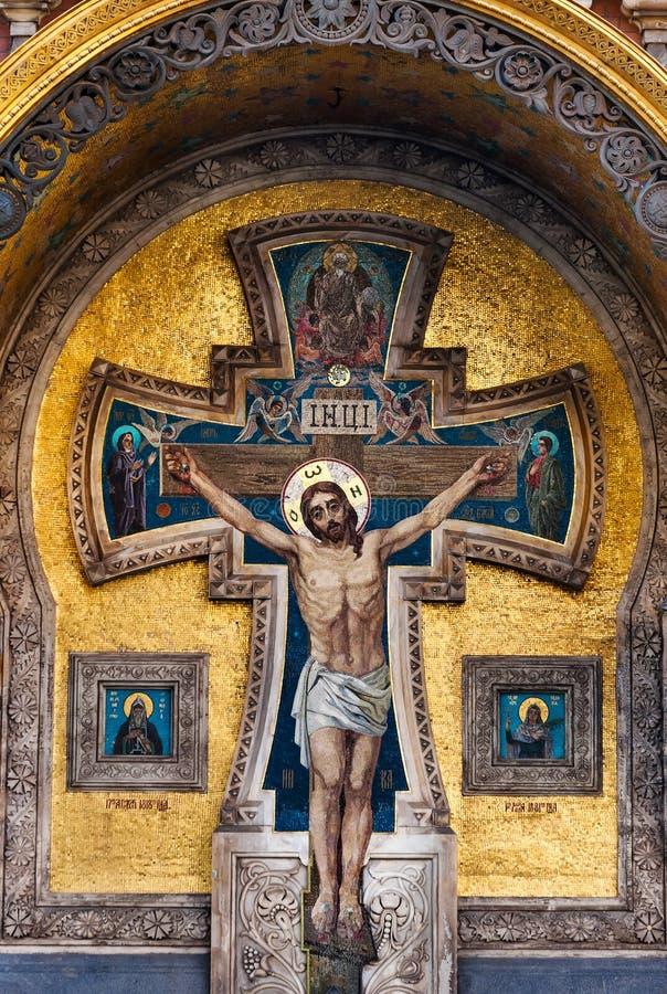 Mosaico com Jesus Christ na igreja do salvador no sangue em St Petersburg, Rússia foto de stock royalty free