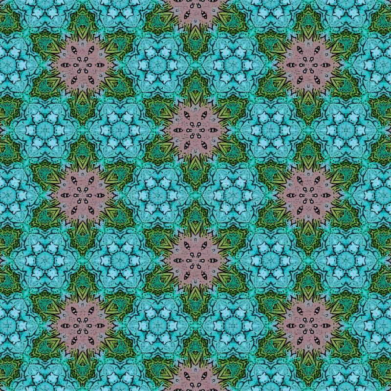Mosaico contínuo do fundo na cerceta vívida e nas cores azuis de néon ilustração do vetor