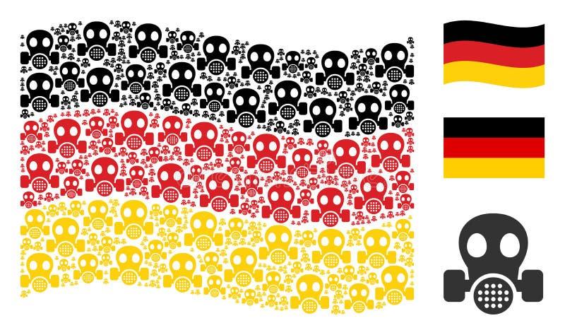Mosaico d'ondeggiamento della bandiera della Germania delle icone della maschera antigas illustrazione di stock