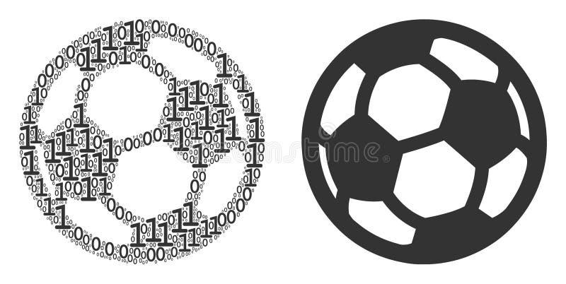 Mosaico da bola do futebol de elementos binários ilustração do vetor