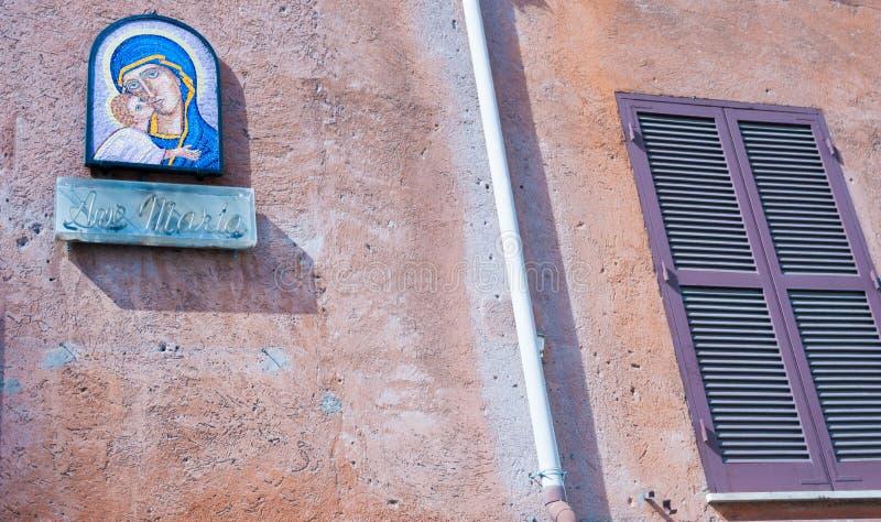 Mosaico da Virgem Maria e da criança Jesus foto de stock