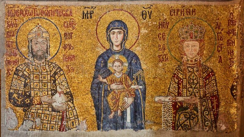 Mosaico da Virgem Maria e o Jesus Christ e os outros Saint na igreja de Hagia Sófia, Istambul, Turquia fotos de stock royalty free