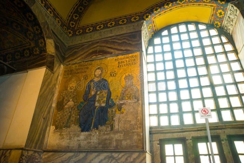 Mosaico da Virgem Maria e o Jesus Christ e os outros Saint na igreja de Hagia Sófia, Istambul, Turquia imagens de stock royalty free