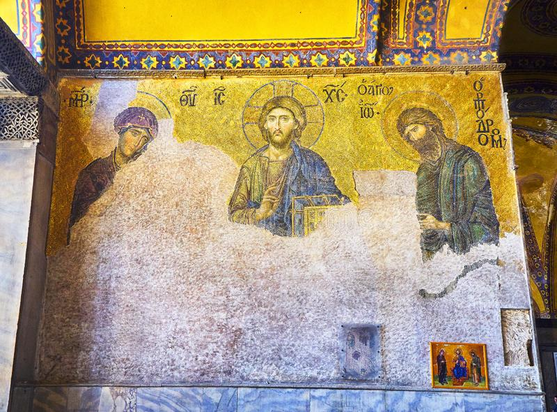 Mosaico de Deesis da mesquita de Hagia Sophia Istambul, Turquia fotografia de stock royalty free