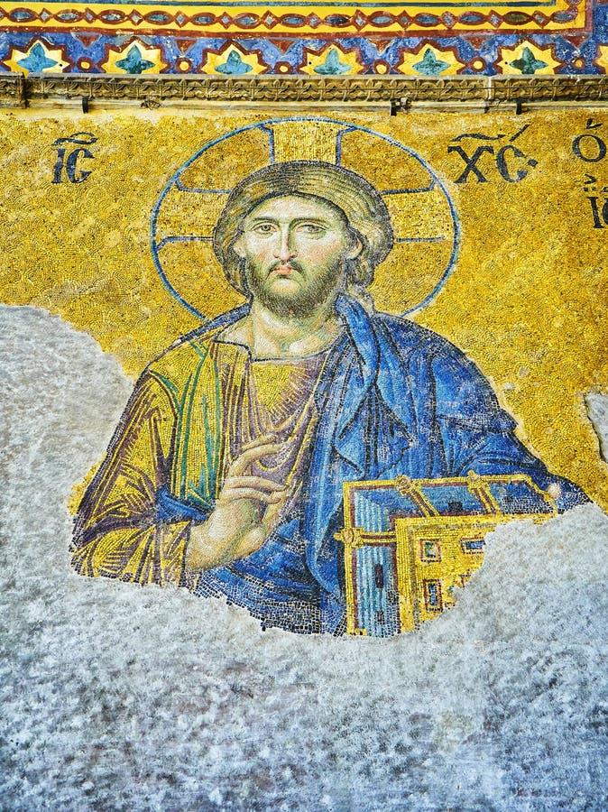 Mosaico de Deesis da mesquita de Hagia Sophia Istambul, Turquia imagens de stock