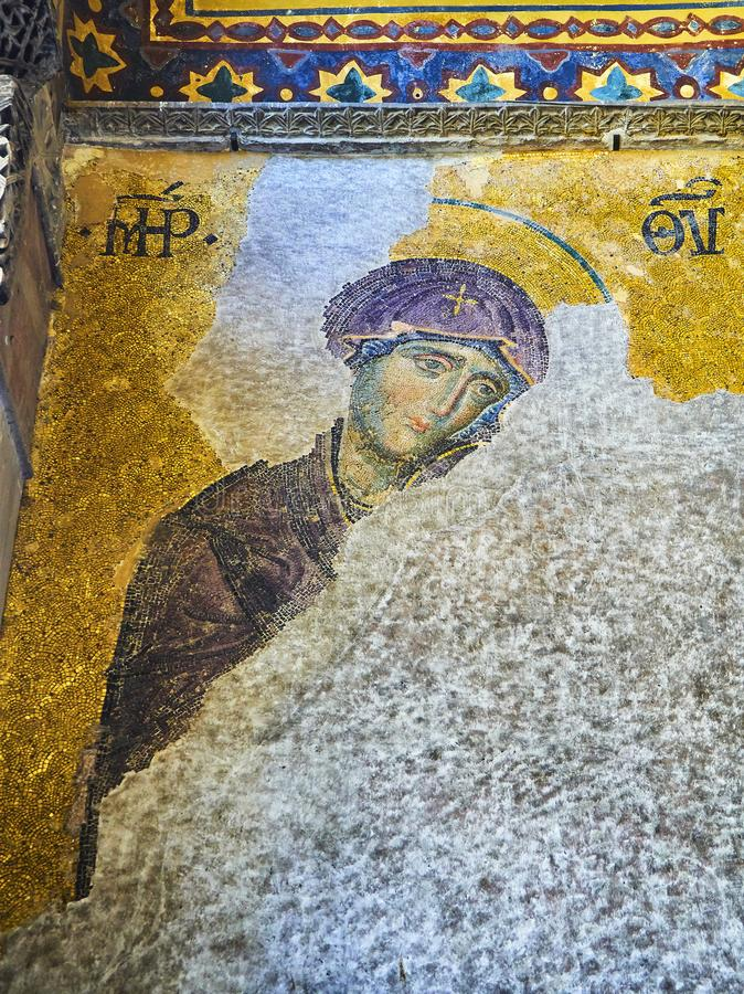 Mosaico de Deesis da mesquita de Hagia Sophia Istambul, Turquia imagens de stock royalty free