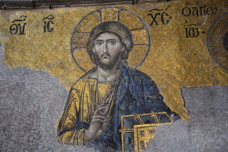Mosaico de Jesus Christ em Hagia Sófia, Istambul imagens de stock royalty free