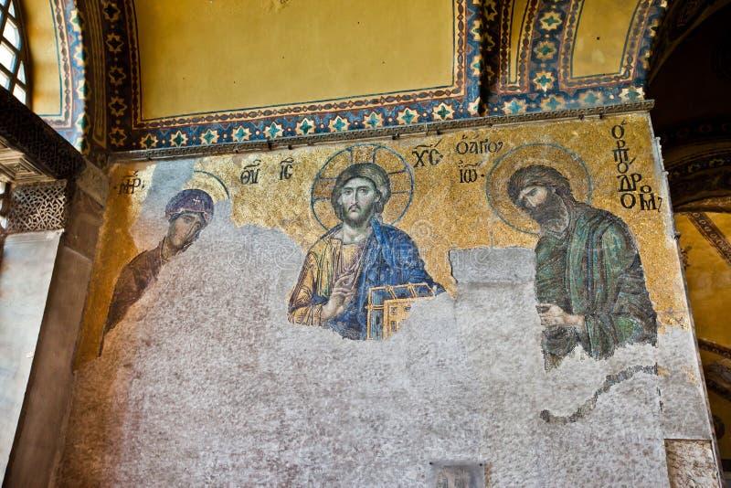 Mosaico de Jesus Christ em Hagia Sophia, Istambul fotos de stock royalty free