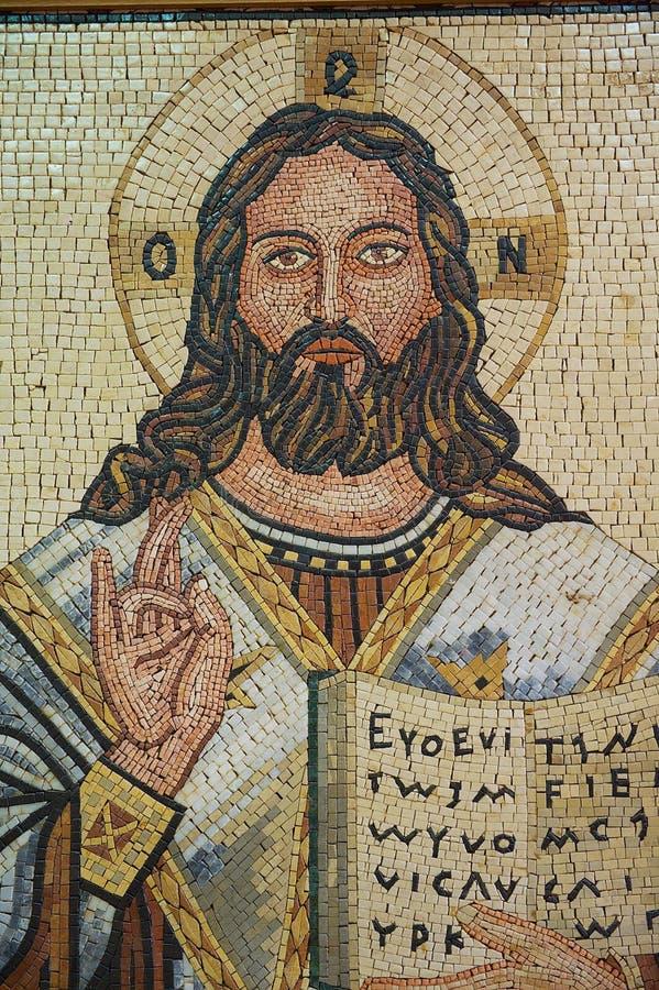 Mosaico de Jesus Christ, um dos ícones famosos do mosaico dentro da igreja ortodoxa grega de St George em Madaba, Jordânia fotos de stock