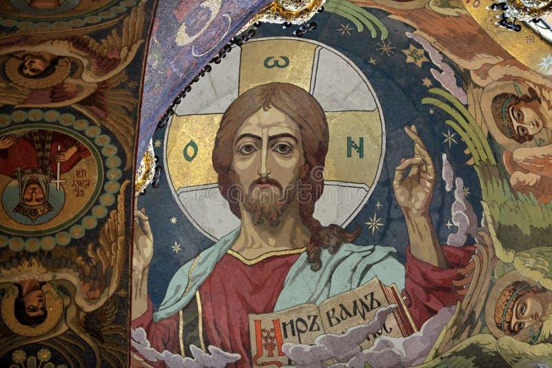 Mosaico de Jesus na igreja fotos de stock