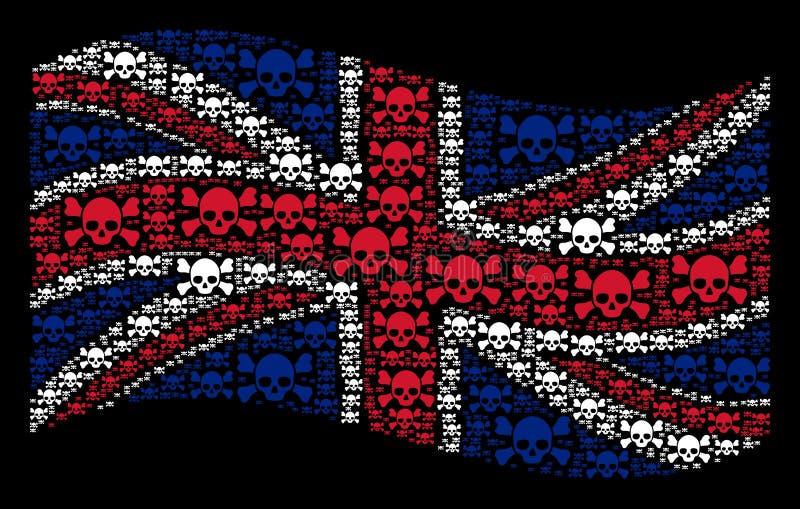 Mosaico de la bandera de Reino Unido que agita de los artículos de la bandera pirata del cráneo ilustración del vector