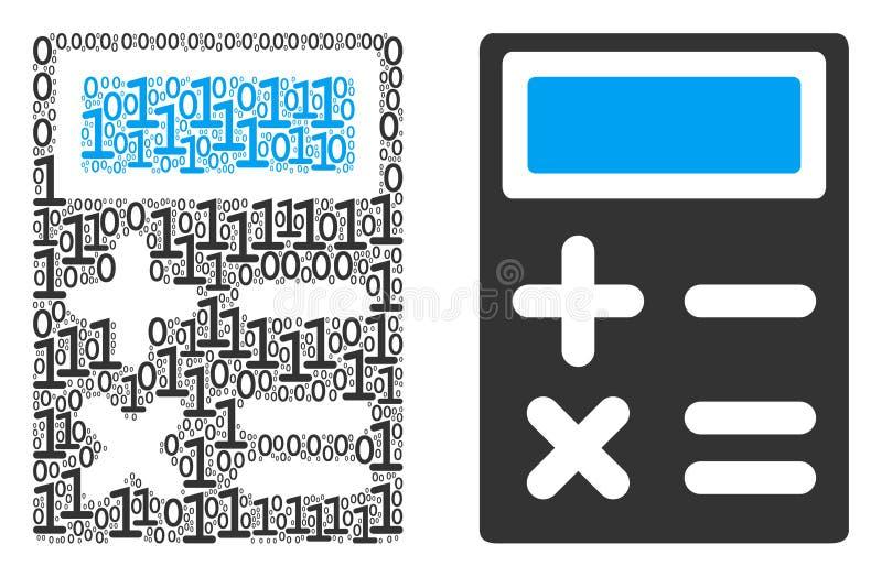 Mosaico de la calculadora de dígitos binarios ilustración del vector