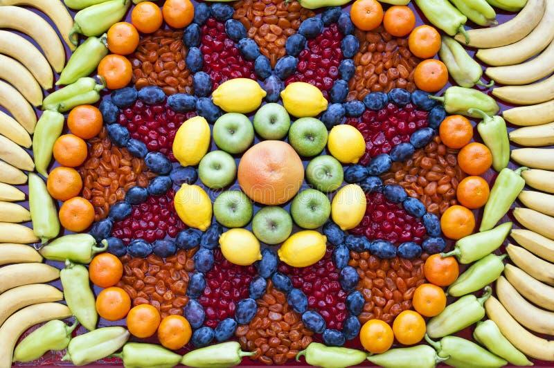 Mosaico de la fruta y verdura imagenes de archivo