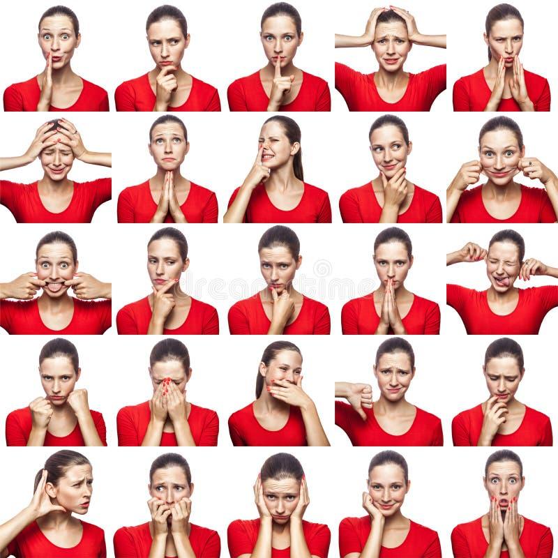 Mosaico de la mujer con las pecas que expresan diversas expresiones de las emociones La mujer con la camiseta roja con 16 diversa imagenes de archivo