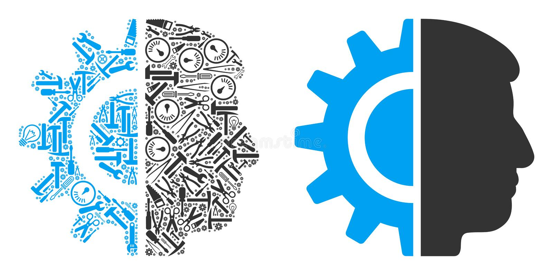 Mosaico de la robótica de Android de las herramientas del servicio libre illustration
