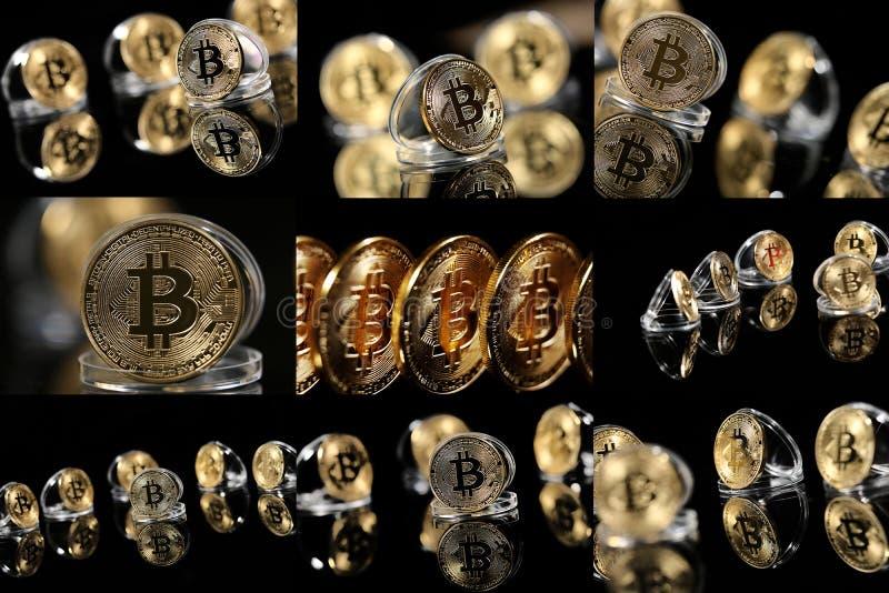 Mosaico de las fotos del bitcoin imágenes de archivo libres de regalías
