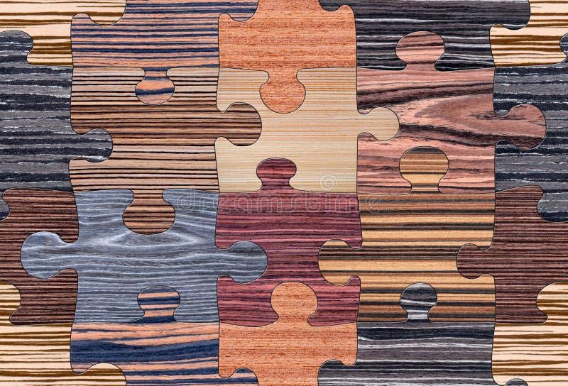 Mosaico de madera del rompecabezas inconsútil imagen de archivo libre de regalías