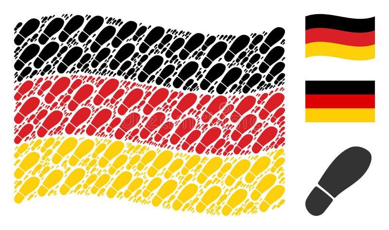 Mosaico de ondulação da bandeira de Alemanha de ícones da pegada da bota ilustração royalty free