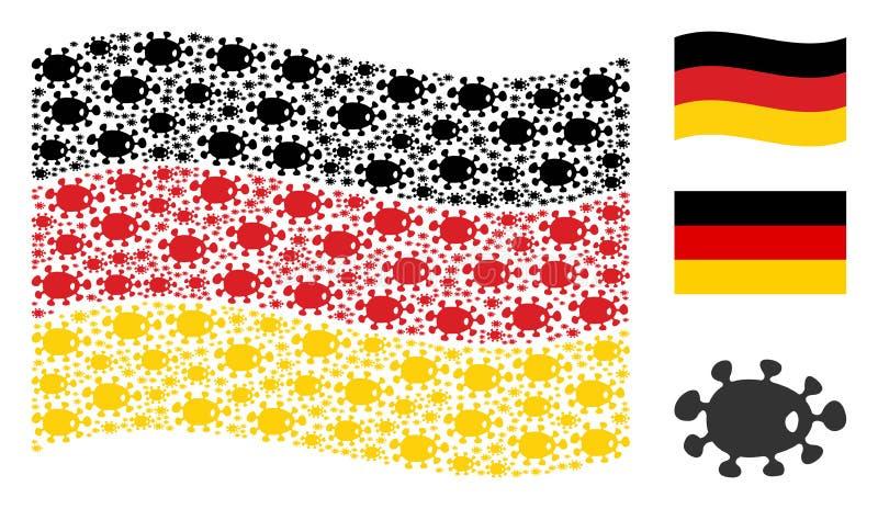 Mosaico de ondulação da bandeira de Alemanha de artigos das bactérias ilustração stock