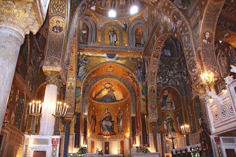 Mosaico de oro en Cappella Palatina imagenes de archivo